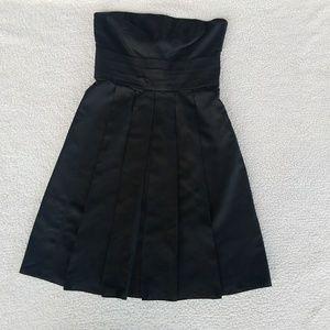 Ann Taylor Strapless Black Pleated Cocktail Dress